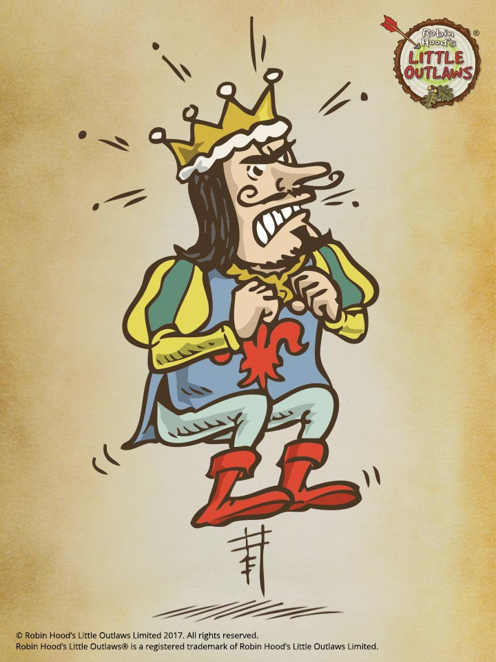 Angry King John character illustration