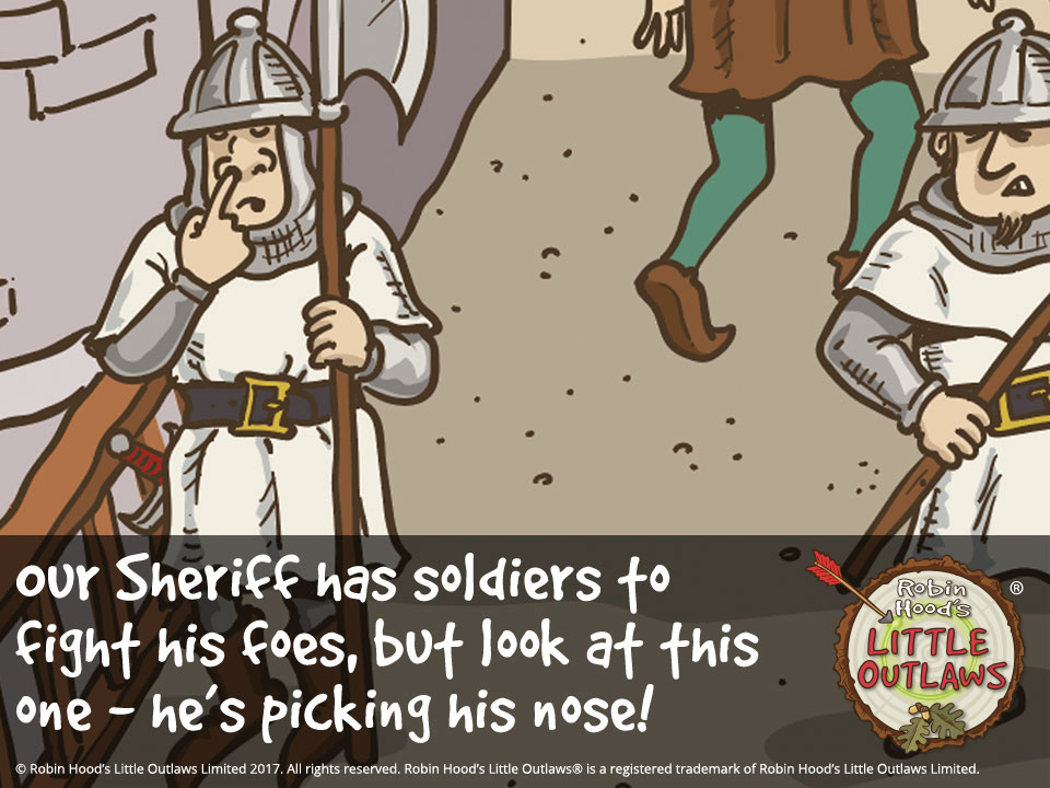 """Illustration of Nottingham Castle soldiers from Robin Hood's Little Outlaws' first children's picture book, """"Robin Hood, who's he?"""""""