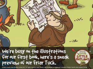 "Friar Tuck character from Robin Hood's Little Outlaws' first children's picture book, ""Robin Hood, who's he?"""