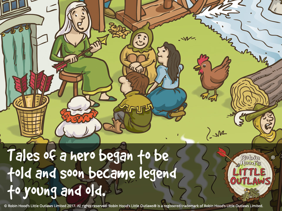 """Illustration of storytelling from Robin Hood's Little Outlaws' first children's picture book, """"Robin Hood, who's he?"""""""
