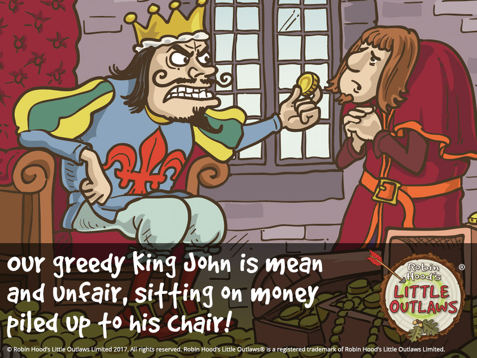 "Illustration of greedy King John and the Sheriff of Nottingham from Robin Hood's Little Outlaws' first children's picture book, ""Robin Hood, who's he?"""
