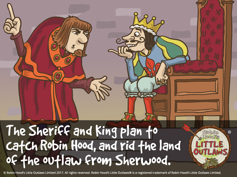 "Illustration of the Sheriff of Nottingham and King John plotting against Robin Hood, from Robin Hood's Little Outlaws' first children's picture book, ""Robin Hood, who's he?"""