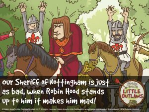 """Illustration of the Sheriff of Nottingham from Robin Hood's Little Outlaws' first children's picture book, """"Robin Hood, who's he?"""""""