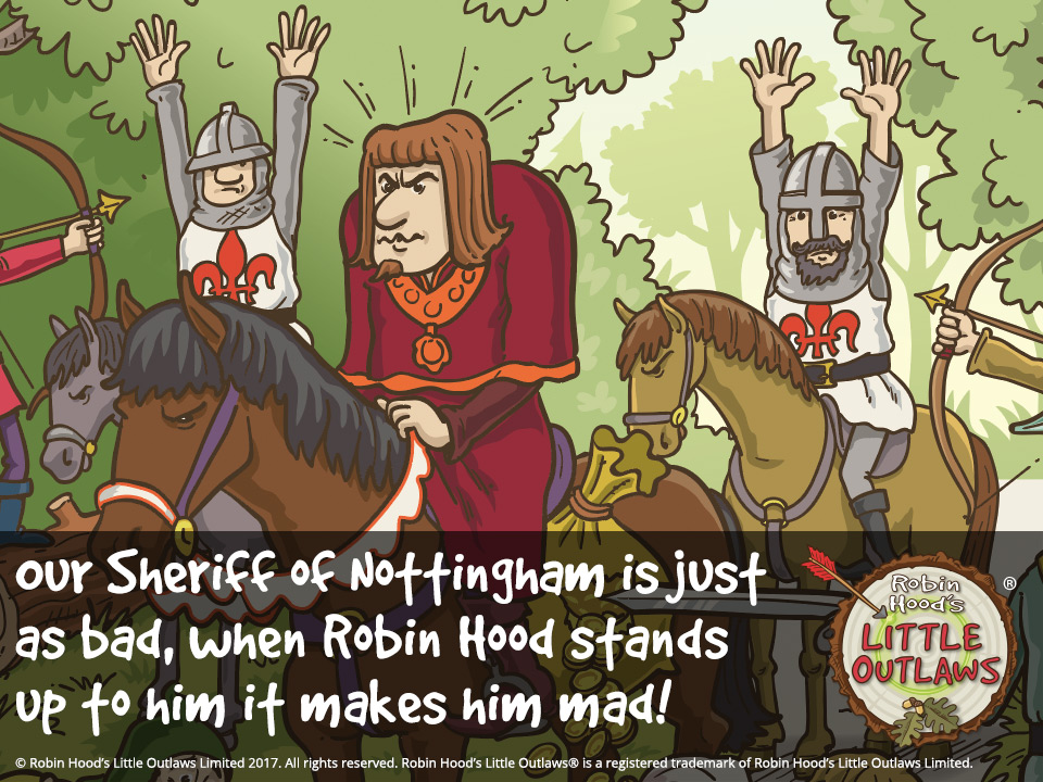 "Illustration of the Sheriff of Nottingham from Robin Hood's Little Outlaws' first children's picture book, ""Robin Hood, who's he?"""