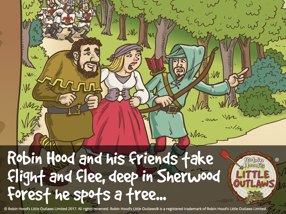 "Illustration of Robin Hood, Maid Marian and Little John, from Robin Hood's Little Outlaws' first children's picture book, ""Robin Hood, who's he?"""