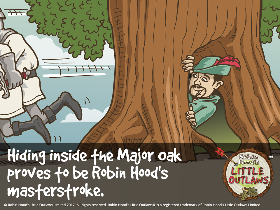 "Illustration of Robin Hood hiding inside the Major Oak, from Robin Hood's Little Outlaws' first children's picture book, ""Robin Hood, who's he?"""