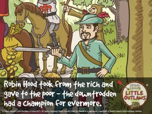 """Illustration of Robin Hood taking from the rich and giving to the poor, from Robin Hood's Little Outlaws' first children's picture book, """"Robin Hood, who's he?"""""""