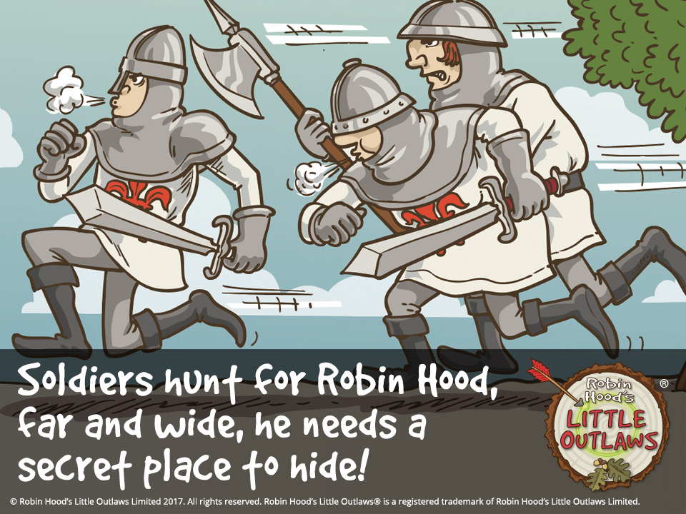 "Illustration of the Sheriff of Nottingham and King John's soldiers hunting for Robin Hood, from Robin Hood's Little Outlaws' first children's picture book, ""Robin Hood, who's he?"""