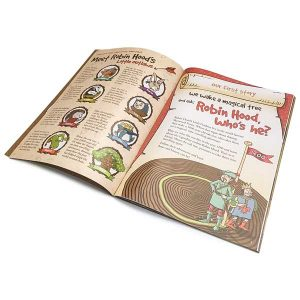 Pages from Robin Hood's Little Outlaws' first picture book, 'Robin Hood, who's he?'