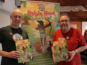 Author, Adrian Sissons, and designer, Robin George at the Waterstones launch of their first Robin Hood's Little Outlaws children's book
