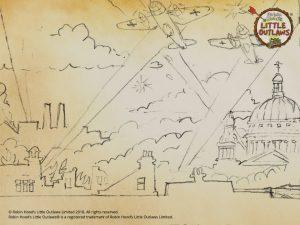 1940's London Blitz skyline sketch for book 2 cover