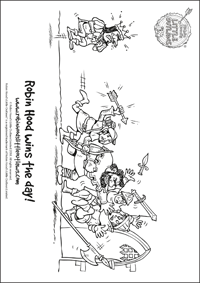 Robin Hood winning the Golden Arrow contest colouring in sheet