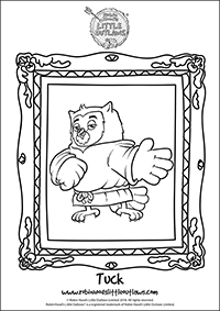 Tuck the owl character colouring in sheet