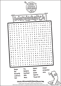Animal names word search printable activity sheet
