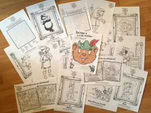 A spread of printed, downloadable fun activities, available from Robin Hood's Little Outlaws' website