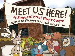 Robin Hood's Little Outlaws promoting their event at Sherwood Forest Visitor Centre, Nottinghamshire