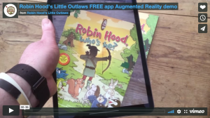 Still frame from the video of the Robin Hood's Little Outlaws augmented reality app