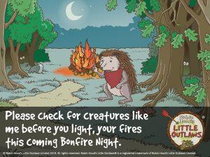 Scarlet the hedgehod warning of Bonfire Night 2019 danger to animals